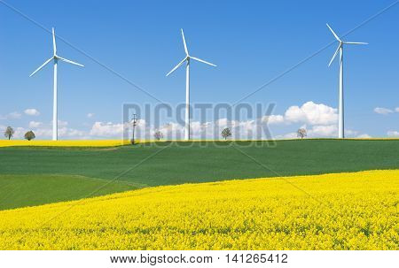 Blooming rapeseed fields with three wind turbines in hilly rural landscape