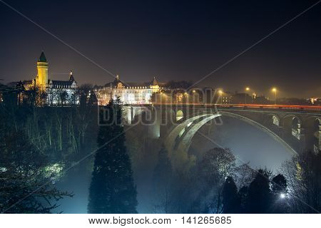 beautiful scape of old historical european country; luxembourg adolphe bridge;