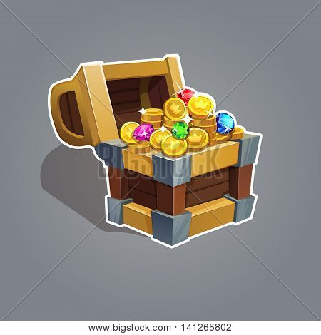 Receiving The Cartoon Treasure. Cartoon Chest Set With Coin And Rhinestone For Game Interface  Vecto