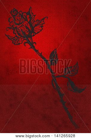 Black rose on the red grunge background