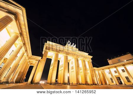 night view on Brandenburg gates from Pariser Platz; main landmark of german Berlin