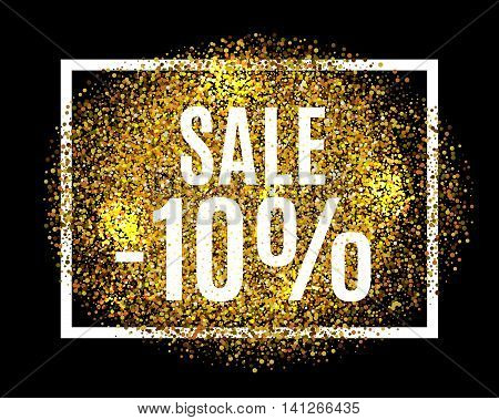 Gold Glitter Background Sale 10% Percent Off Sale Promotion Tag. New Year, Christmas Shop Offer. Gol