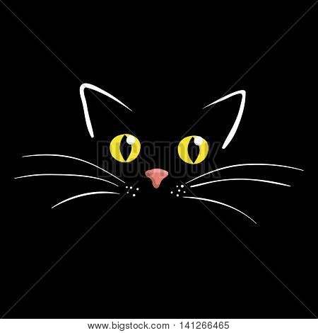 Kitten face on black background vector illustration