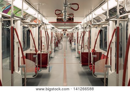 toronto underground subway carriage perspective; vanishing point of subway;