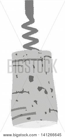 A halftone corkscrew blade with cork attached.