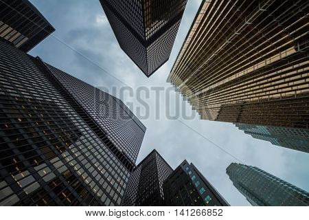 day view of Toronto city skyscrapers; look up; urban skyline; business center of big city;