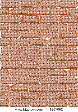 A red brick wall in halftone with weather damage.