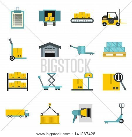Flat logistic icons set. Universal logistic icons to use for web and mobile UI, set of basic logistic elements isolated vector illustration