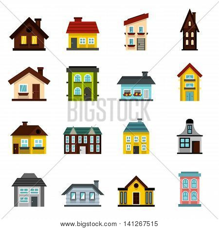 Flat house icons set. Universal house icons to use for web and mobile UI, set of basic house elements isolated vector illustration