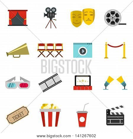 Flat cinema icons set. Universal cinema icons to use for web and mobile UI, set of basic cinema elements isolated vector illustration