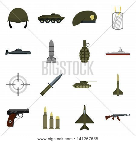 Flat military icons set. Universal military icons to use for web and mobile UI, set of basic military elements isolated vector illustration