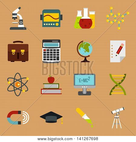 Flat education icons set. Universal education icons to use for web and mobile UI, set of basic education elements isolated vector illustration
