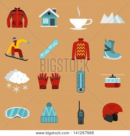 Flat snowboarding icons set. Universal snowboarding icons to use for web and mobile UI, set of basic snowboarding elements isolated vector illustration