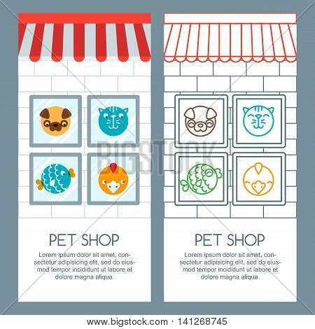 Pet Shop, Pets Care, Veterinary Concept. Vector Banner, Poster Or Flyer Template.