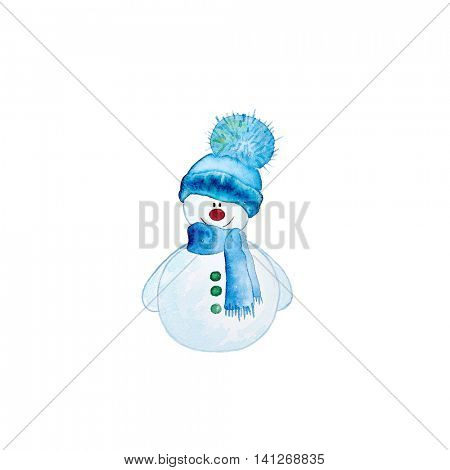 Watercolor Snowman with a Bobble Hat (hand drawn)