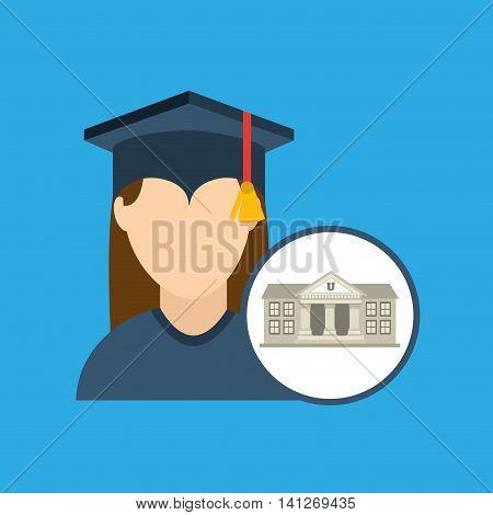 university building, education ceremony icon, vector illustration