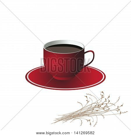 Red coffee mug with saucer and a small flowers bouquet . Vector illustration.