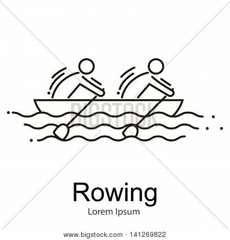 Canoe Rowing Team Icon Set.Canoe Sporting Competition Race vector illustration