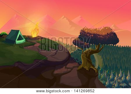 A poster showing a campsite with a campfire. Vector Illustration for your application , project.