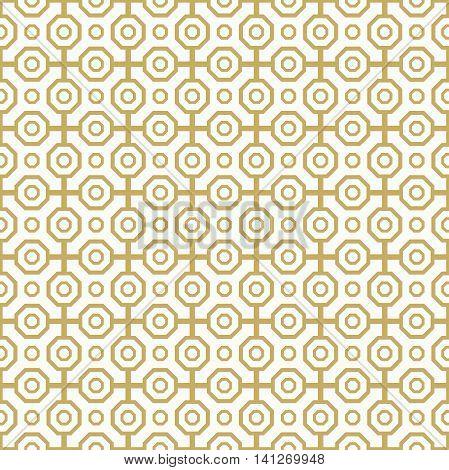 Geometric abstract background. Seamless modern pattern. Golden octagonal pattern