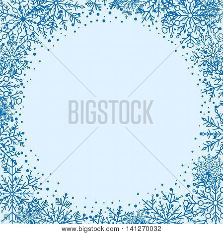 Winter greeting card with arabesques and snowflakes. Fine greeting card. Blue greeting card