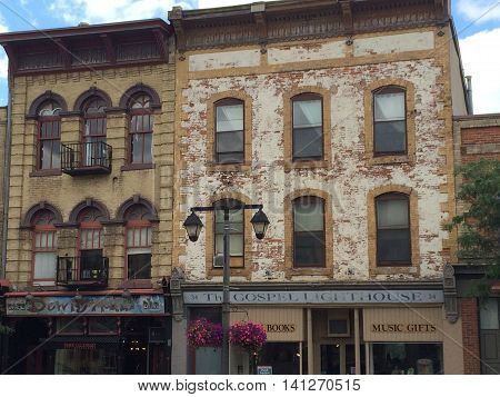 Canada,August 3, 2015,Stratford,ON, Downtown Street-Old Houses architecture details