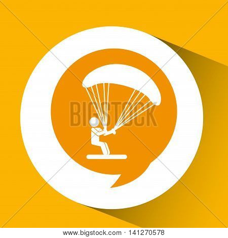 silhouette thinking in parachute design, vector illustration eps10