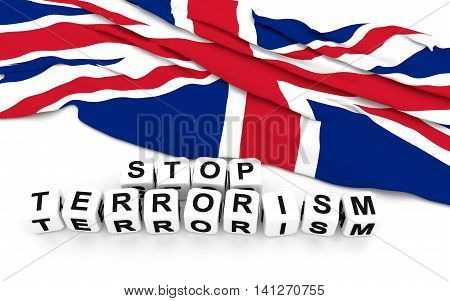 Great Britain flag and write stop terrorism. 3D rendering.