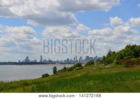 Gorgeous city views from the Boston Harbor Islands.