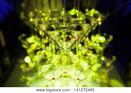 martini glasses pyramid; beautiful catering bartender bar;