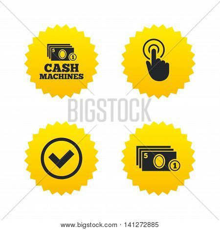 ATM cash machine withdrawal icons. Click here, check PIN number, processing and cash withdrawal symbols. Yellow stars labels with flat icons. Vector