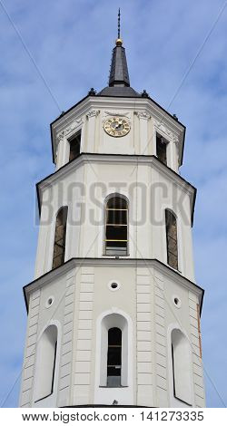 VILNIUS LITHUANIA SEPTEMBER 13 2015: Tower of the Cathedral of Vilnius is the main Roman Catholic Cathedral of Lithuania. Dedicated to Saints Stanislaus and Ladislaus,