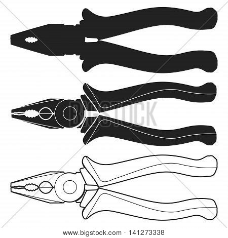 Combination Pliers black and white icon Vector Illustration on the white background. Pliers Icon. Pliers Icon Path. Pliers Icon EPS