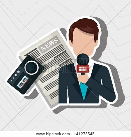 reporter avatar with newspaper isolated icon design, vector illustration  graphic