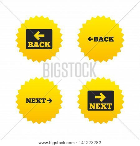 Back and next navigation signs. Arrow direction icons. Yellow stars labels with flat icons. Vector