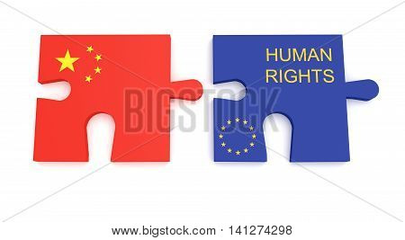 EU China Partnership: Chinese Flag And EU Flag Human Rights Puzzle Pieces 3d illustration
