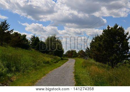 Beautiful hiking trail on Spectacle Island in Boston.
