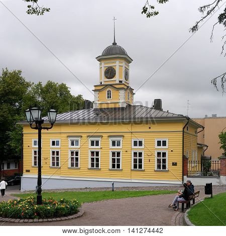 Lappeenranta Finland - 29 July 2016: The wooden town hall. The Town Hall was built in 1899.