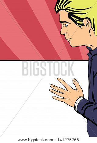 young man was crying, holding  hand on glass background. Illustration in pop-art style. Depression and separation,  gap in relations