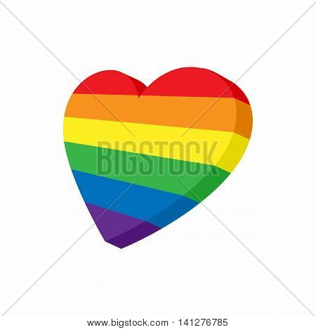 Heart in LGBT color icon in cartoon style isolated on white background. Tolerance symbol