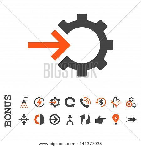 Cog Integration vector bicolor icon. Image style is a flat pictogram symbol, orange and gray colors, white background.