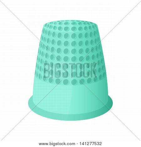 Thimble icon in cartoon style isolated on white background. Accessory symbol