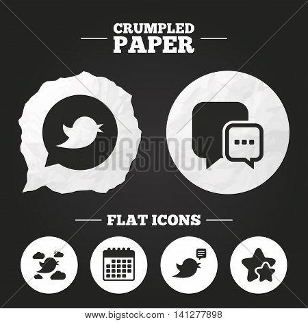 Crumpled paper speech bubble. Birds icons. Social media speech bubble. Short messages chat symbol. Paper button. Vector