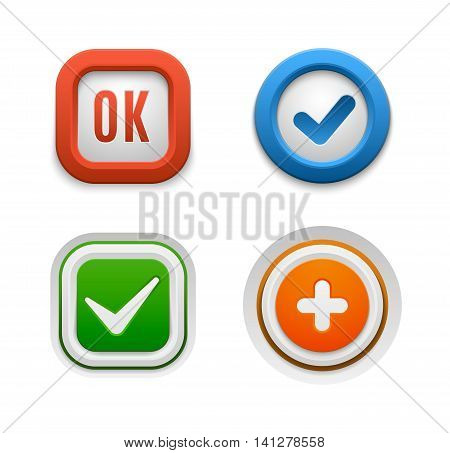Set of interface buttons ok, cancel, yes, no. Vector internet check ok button positive set. Website accept ok button success red mark approved tick concept. Correct shiny sign.