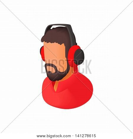 Male commentator in headphones icon in cartoon style isolated on white background. Sport symbol