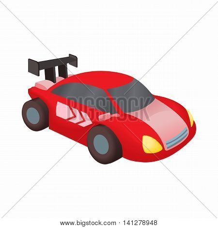 Red race car icon in cartoon style isolated on white background. Machine symbol
