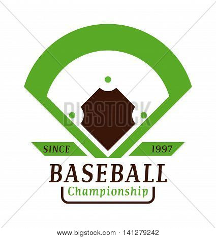 Template logo for baseball sport team with sport sign and symbols. Tournament competition graphic champion sport team logo badge icon. Vector club game baseball sport team logo badge.
