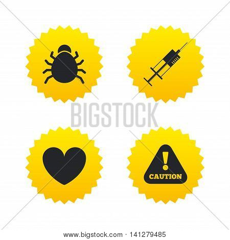 Bug and vaccine syringe injection icons. Heart and caution with exclamation sign symbols. Yellow stars labels with flat icons. Vector
