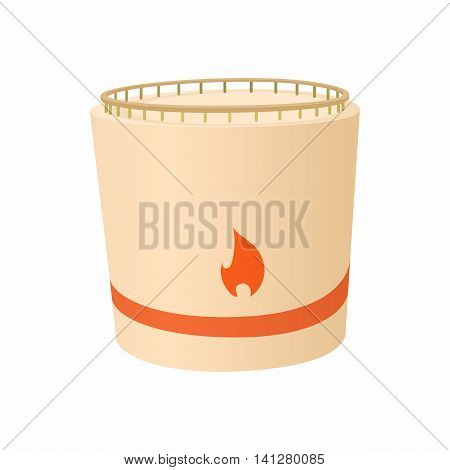 Cylindrical tank flammable icon in cartoon style isolated on white background. Chemistry symbol