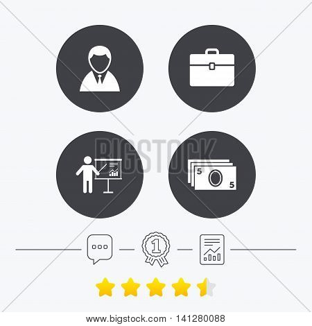 Businessman icons. Human silhouette and cash money signs. Case and presentation with chart symbols. Chat, award medal and report linear icons. Star vote ranking. Vector